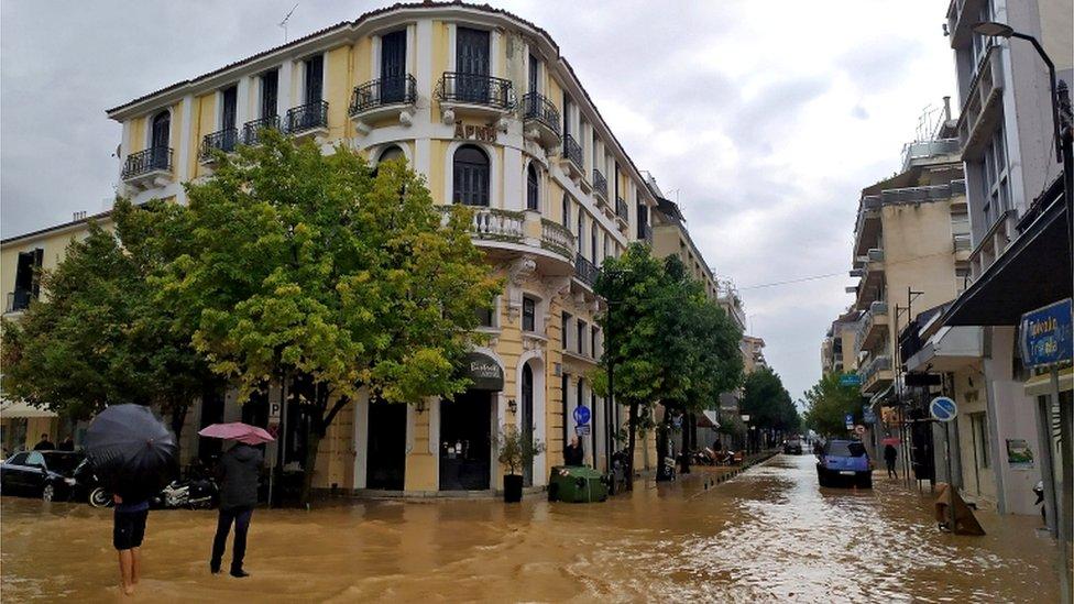 A flooded street in central Karditsa, Greece, 19 September 2020
