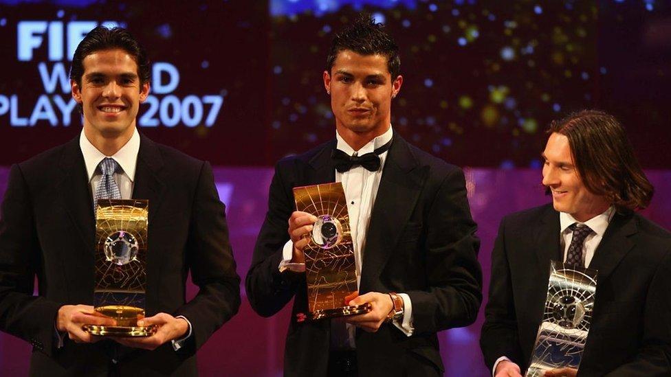 Kaká, Lionel Messi y Cristiano Ronaldo.
