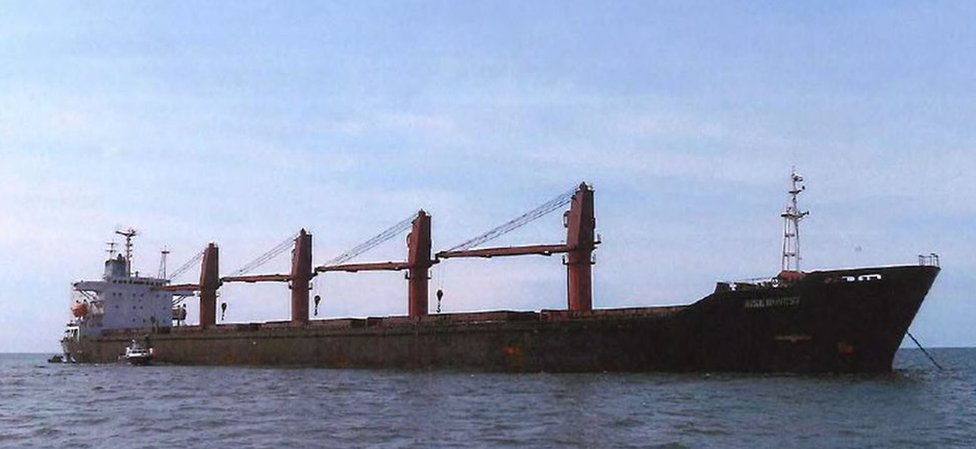 North Korean cargo vessel the Wise Honest seen on the open sea