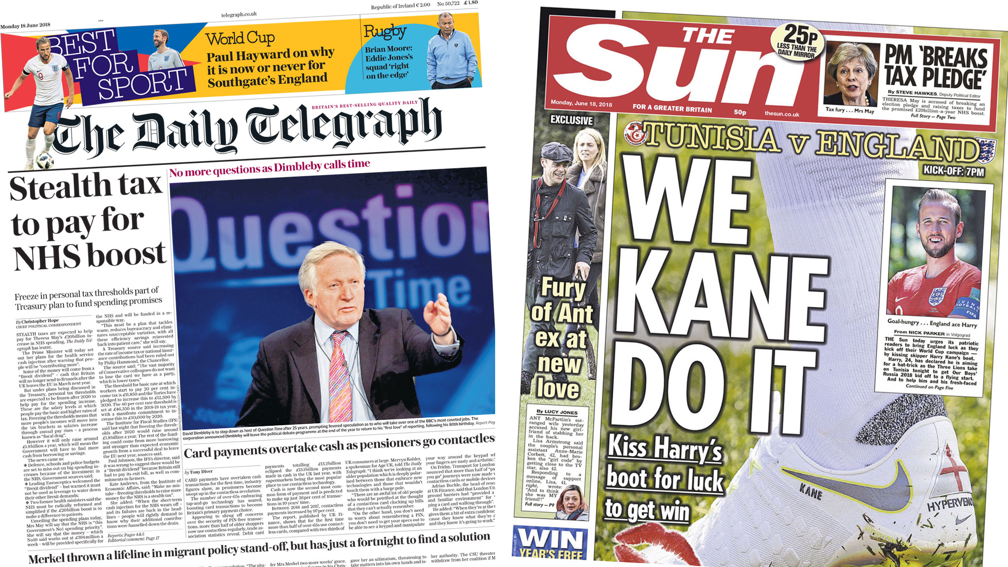 Newspaper headlines: PM 'under fire for Brexit dividend claim' and 'We Kane Do It'