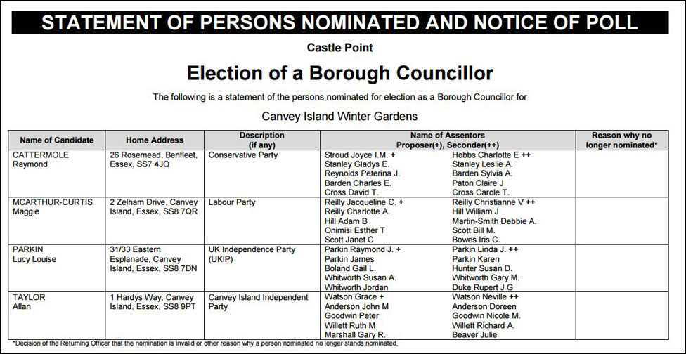 Castle Point Borough Council election candidate form