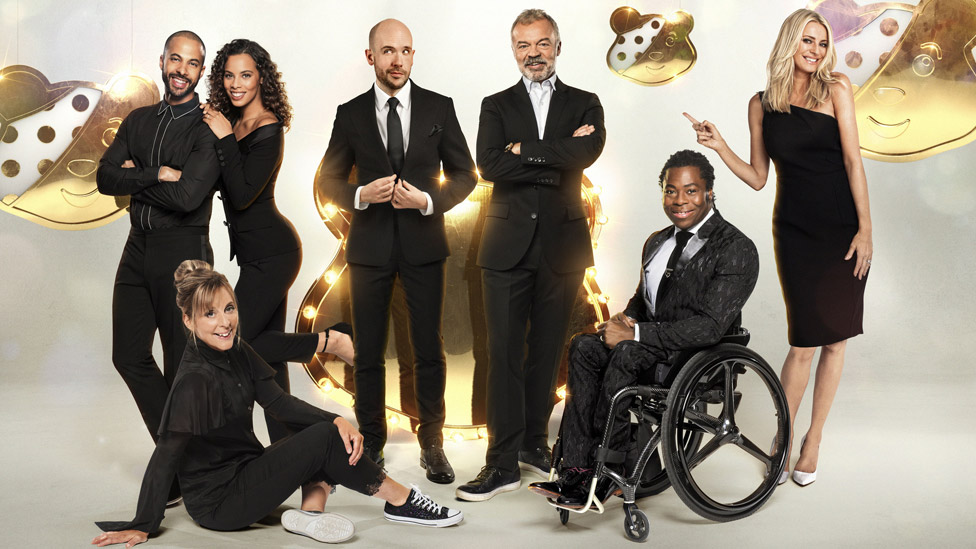 Children in Need hosts Marvin and Rochelle Humes, Mel Giedroyc, Tom Allen, Graham Norton, Ade Adepitan and Tess Daly