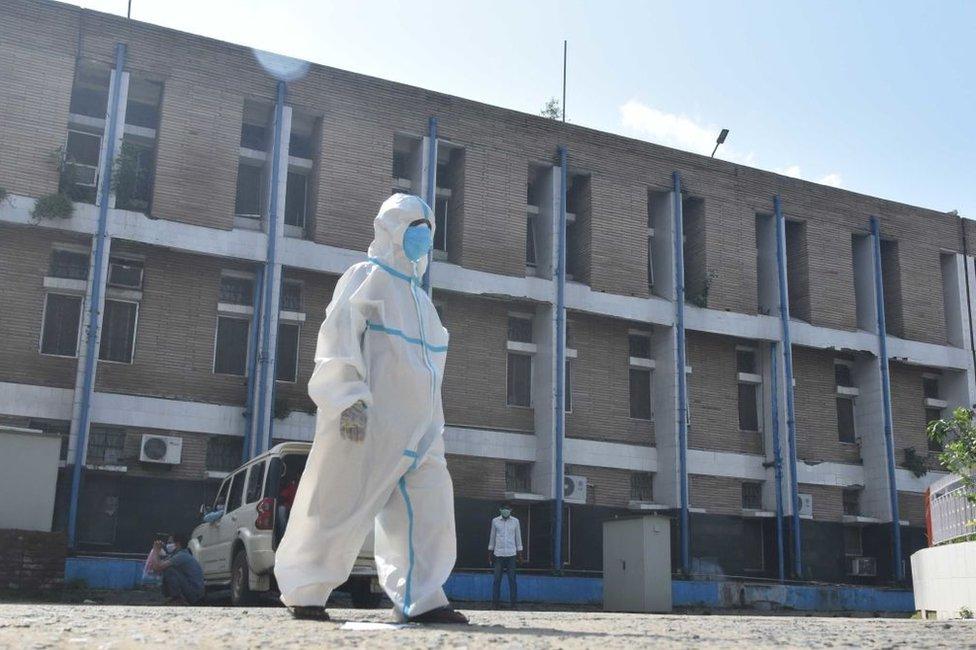 A ward boy outside a hospital in Bihar state