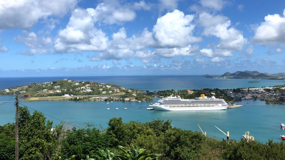 Cruise ship seen on Castries Port, Saint Lucia on 6 February 2019