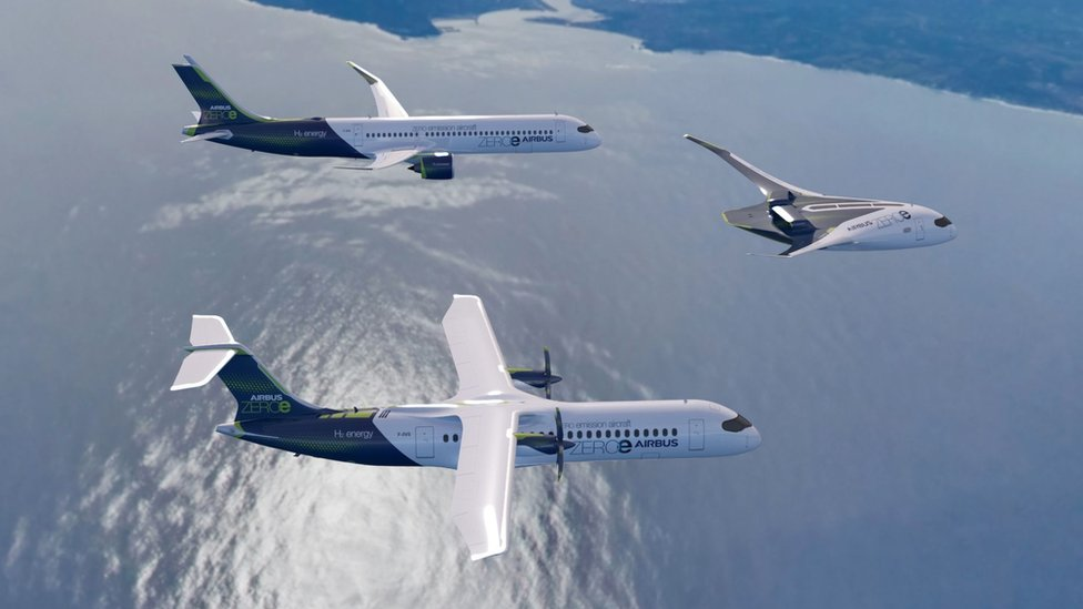 Airbus's three ZEROe concept planes