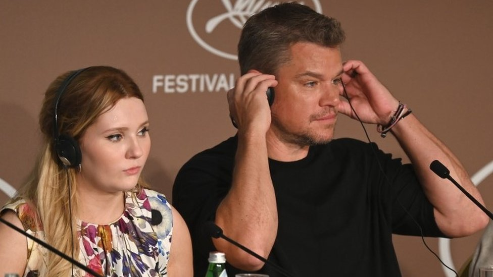 Abigail Breslin and Matt Damon at news conference for Stillwater at this year's Cannes Film Festival
