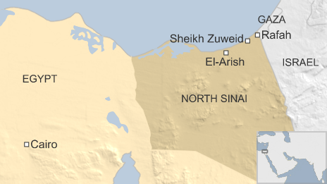Map of Egypt showing location of Sheikh Zuweid