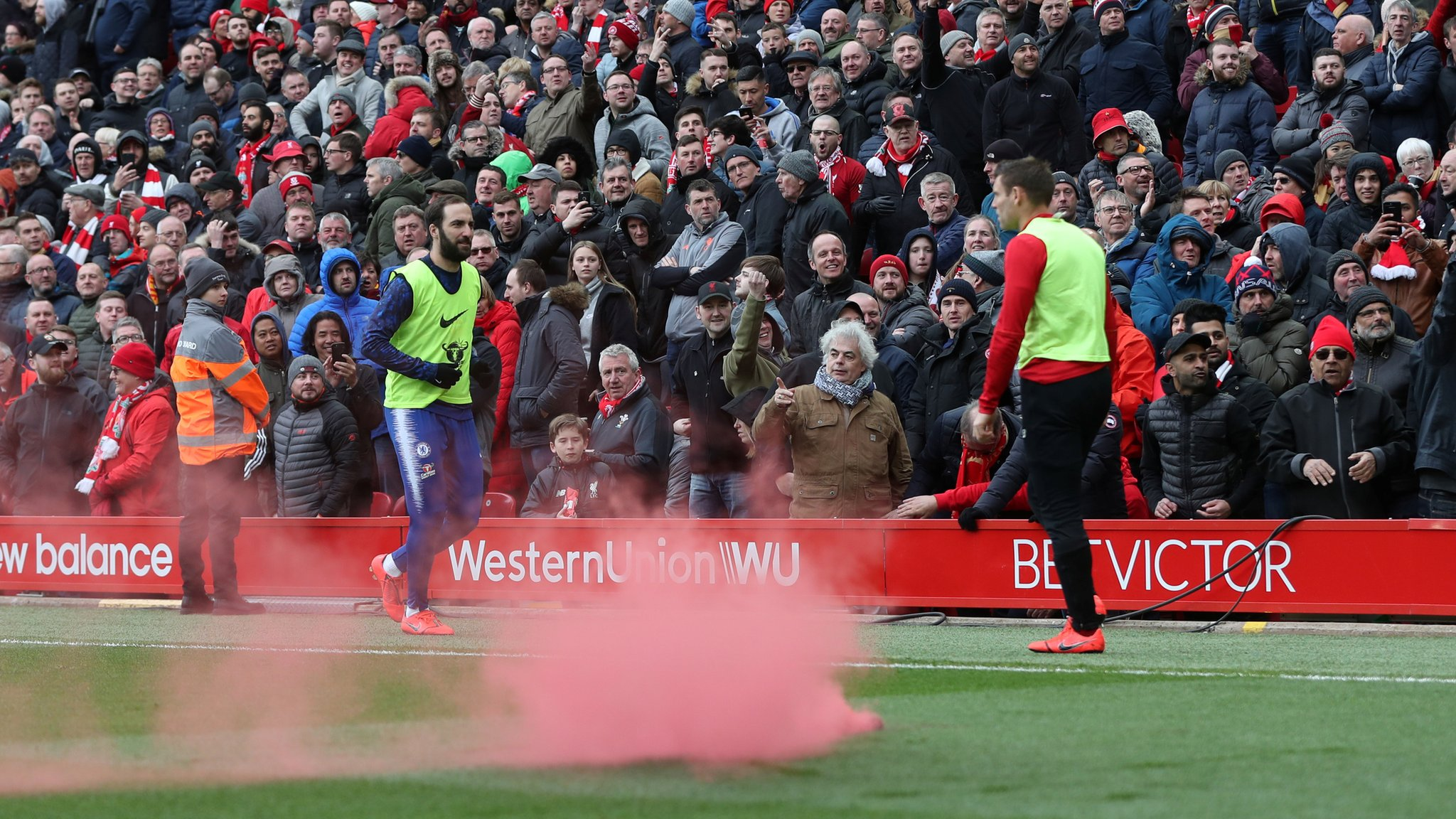 Liverpool 2-0 Chelsea: Reds work with police over Anfield smoke device incident