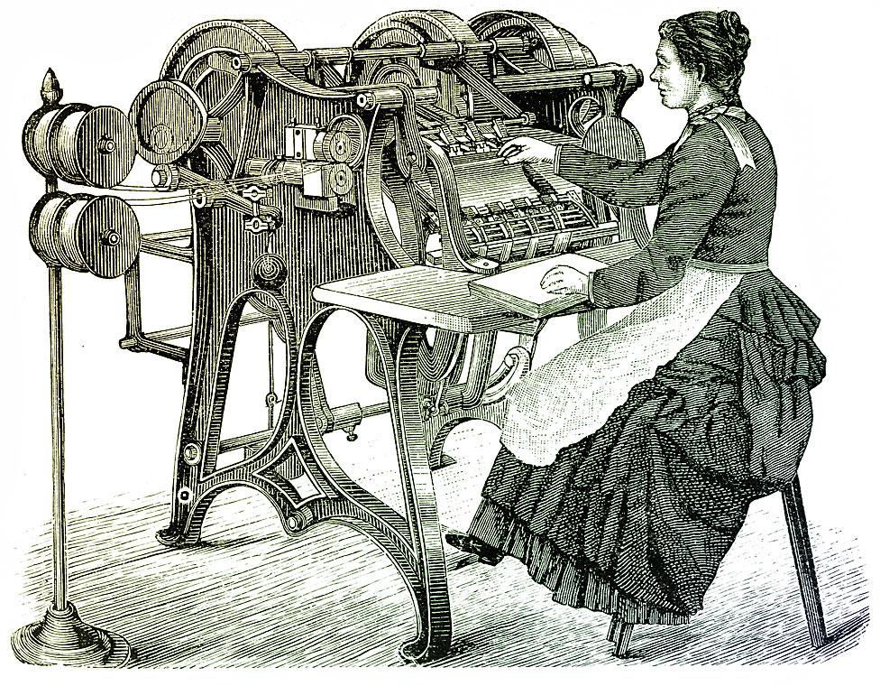 Mujer en máquina impresora con libro