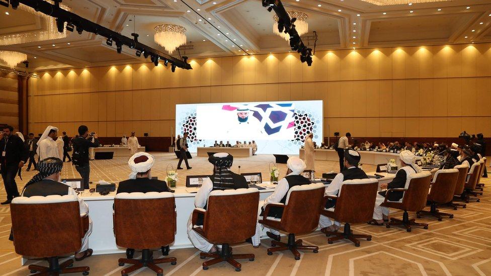 جانب من مؤتمر الدوحة عام 2019 الذي حضره ممثلو طالبان