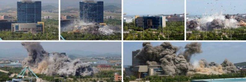 Foto peledakan kantor penghubung Korut-Korsel