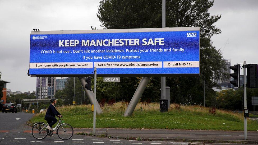 Coronavirus signage in Manchester