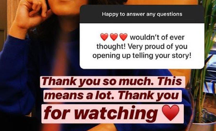Un mensaje de apoyo para Arooj Aftab en Instagram