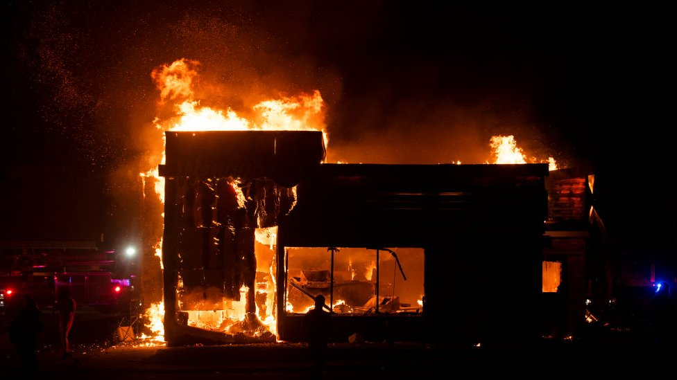 A fast food restaurant burns in Minneapolis