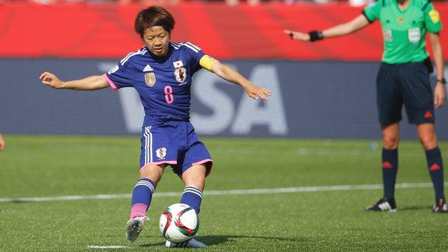 Japan captain Aya Miyama scores from the penalty spot