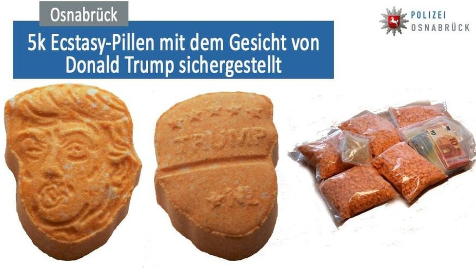 Ecstasy pills depicting Donald Trump's face, seized by police in the German city of Osnabrück