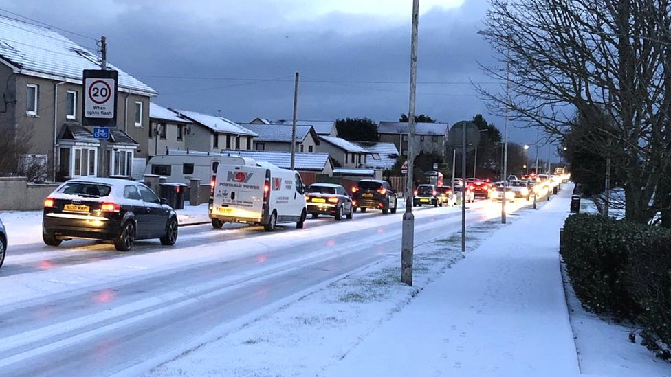 Snow and ice bring travel problems in north east of Scotland