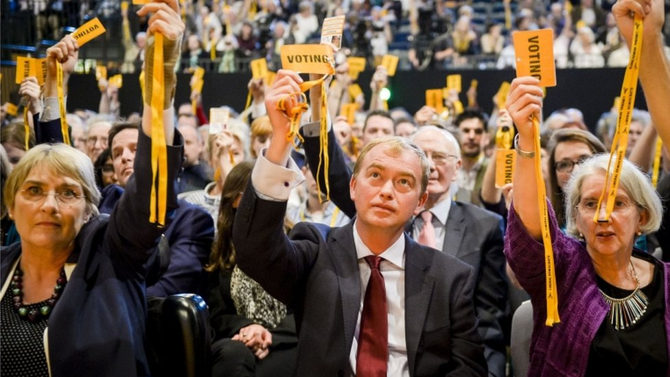 Tim Farron votes on Trident at the Liberal Democrats annual conference