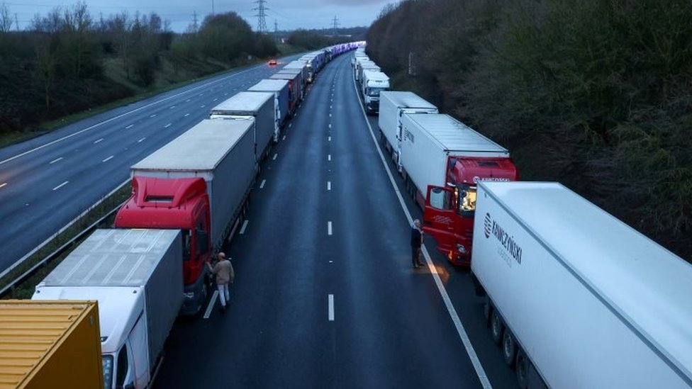 Long queues of lorries on the motorway in southern England