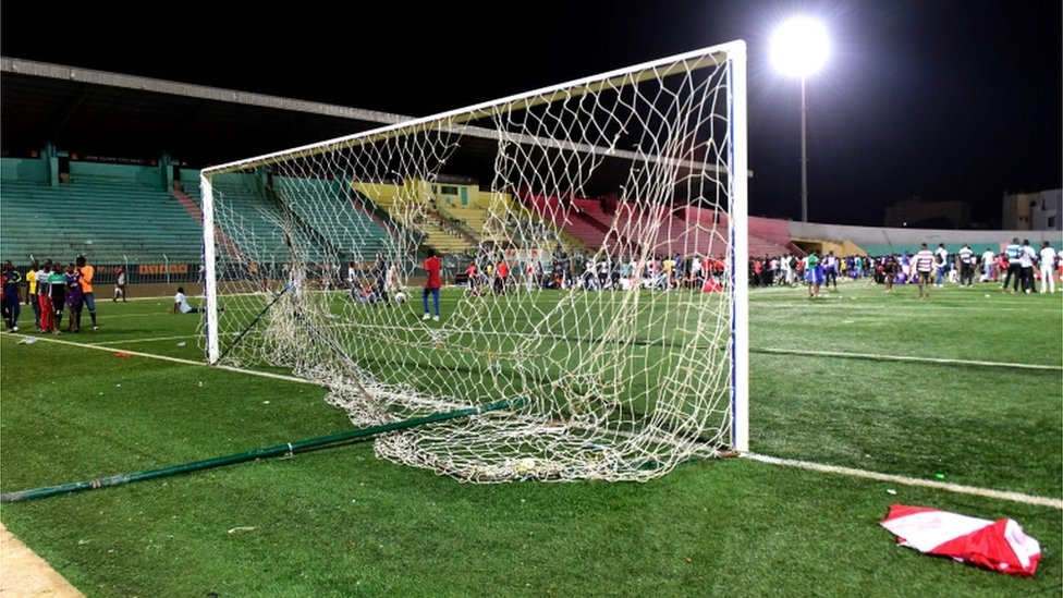 Damaged goalposts after unrest at the Demba Diop stadium