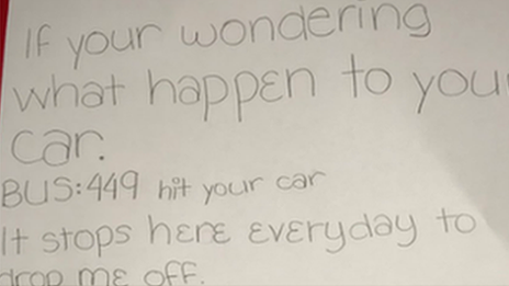 Child's note tells driver bus hit his parked car