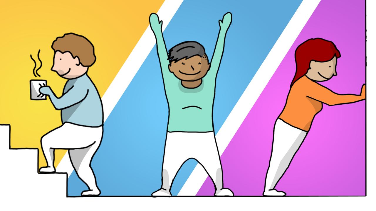Ilustração de pessoas se exercitando e alongando