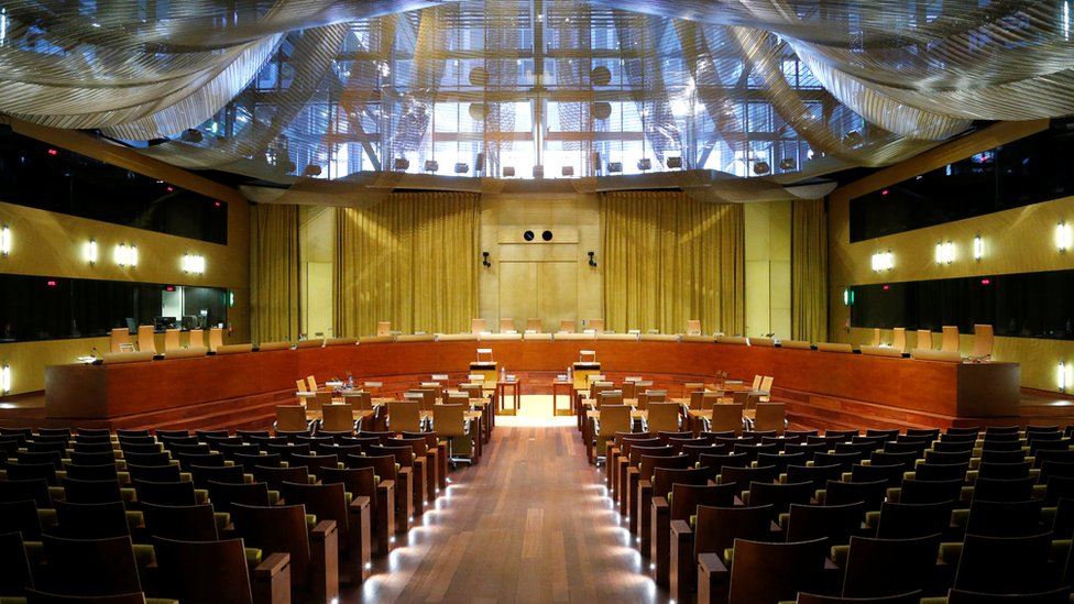 The main courtroom of the European Court of Justice in Luxembourg