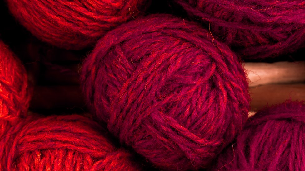 Wool dyed with carmine