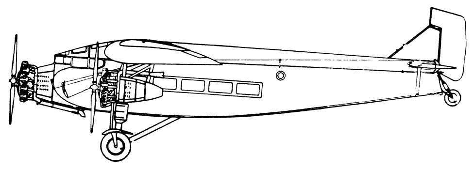 Croquis del Ford Trimotor F 31 modelo 5-AT-B