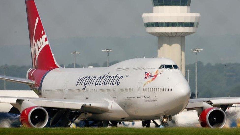 Virgin Atlantic plane at Gatwick airport