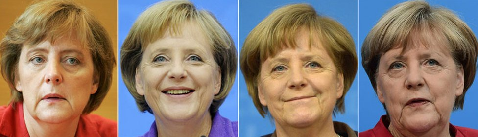 This combination of file pictures created on November 21, 2016 shows German chancellor Angela Merkel (L to R) 2005, 2009, 2013 and 2016 in Berlin.