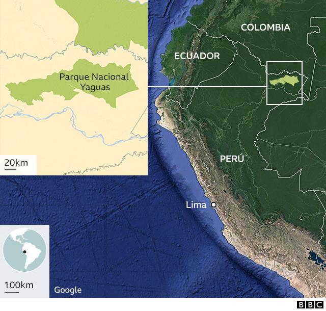Mapa Parque Nacional Yaguas en Perú