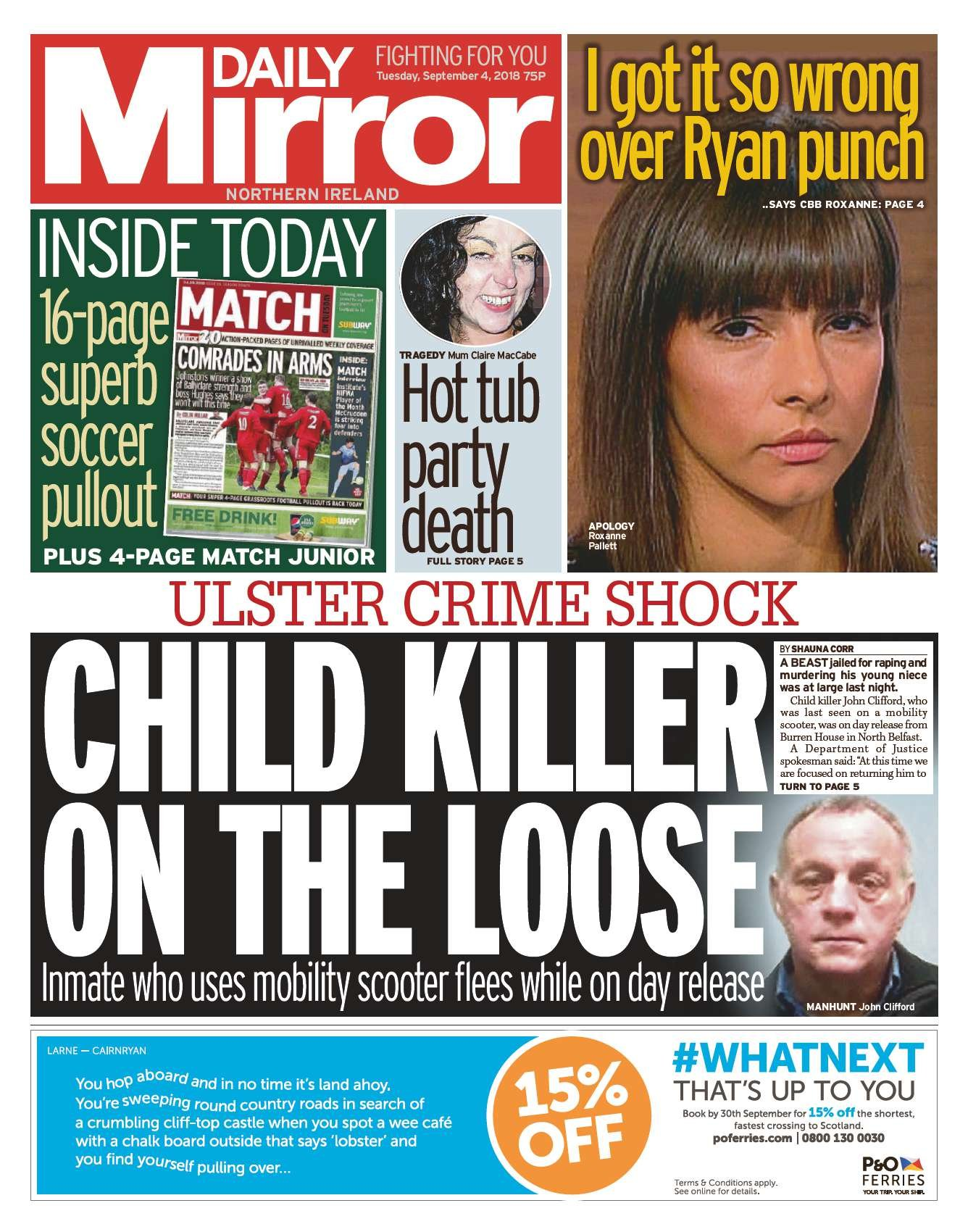 Front page of the Daily Mirror on Tuesday