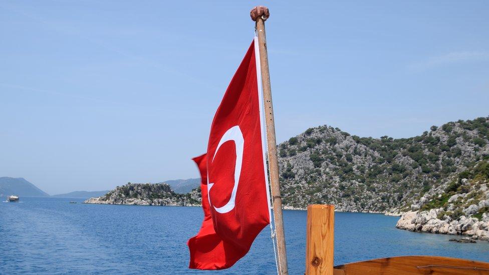 Turkey flag on boat