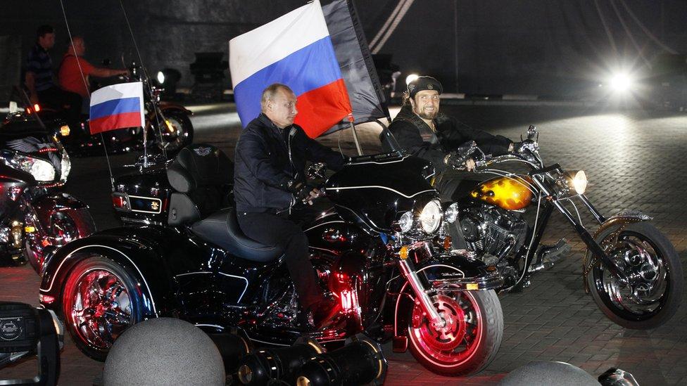 Mr Putin riding with bikers in Black Sea port of Novorossiysk, Russia