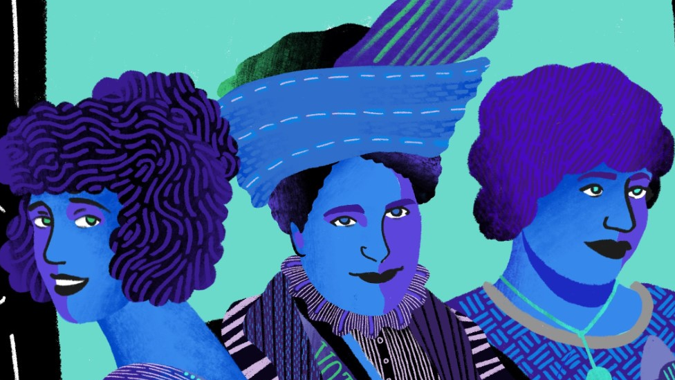 A sketch of the three women painted in blues and greens