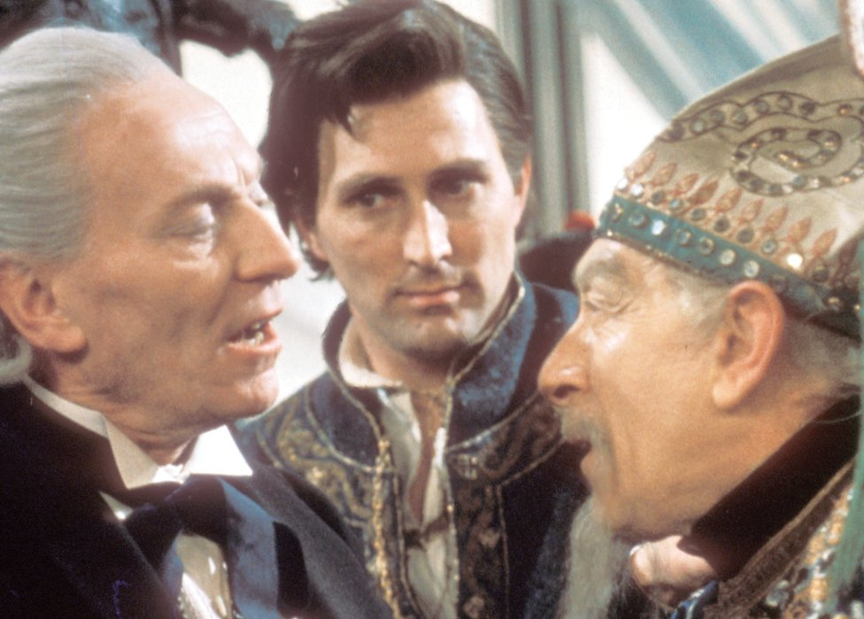 William Hartnell as The Doctor, Mark Eden as Marco Polo and Martin Miller as Kublai Khan