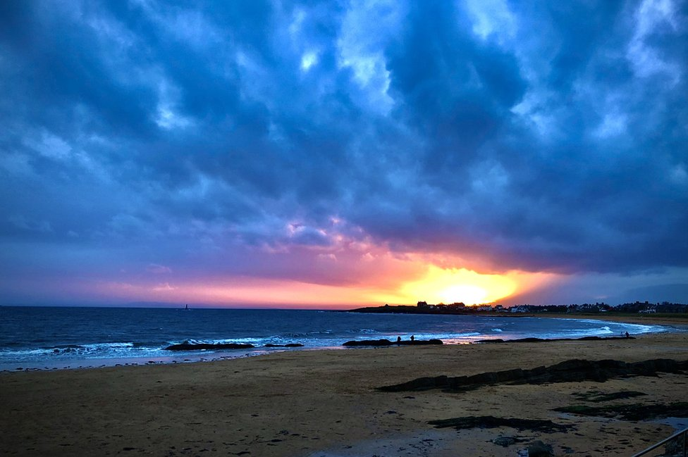"""Ben Emson captured """"The last embers of Summer"""", with this sunset over Elie bay in Fife."""