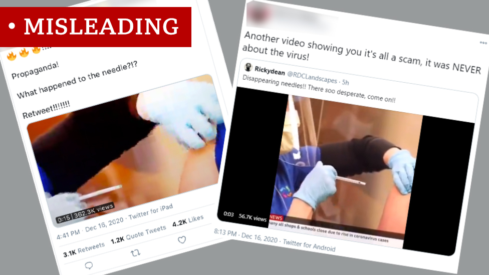 """Two screenshots labeled """"Misleading"""". Both show a photo of a syringe without a needle being removed from someone's arm. The posts say """"Propaganda! What happened to the needle?!?"""" and """"Another video showing you it's all a scam, it was NEVER about the virus"""""""