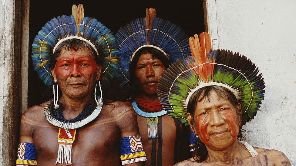 Members of the Kayapo people in the Amazon Basin, 2002