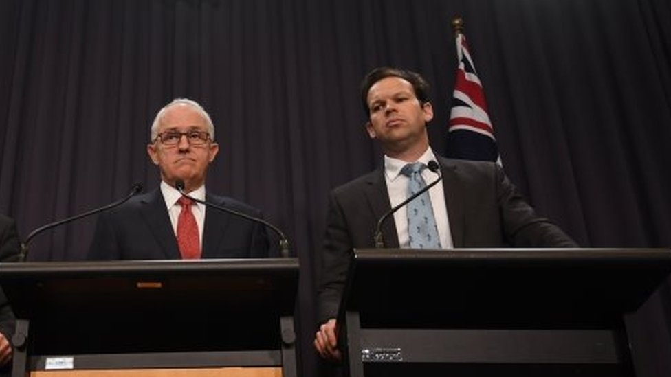 Matthew Canavan (right) and Australian Prime Minister Malcolm Turnbull. Photo: 20 June 2017