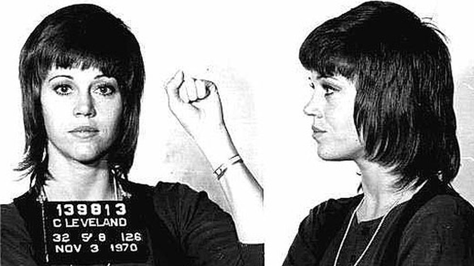 Jane Fonda's famous mug shot from 1970