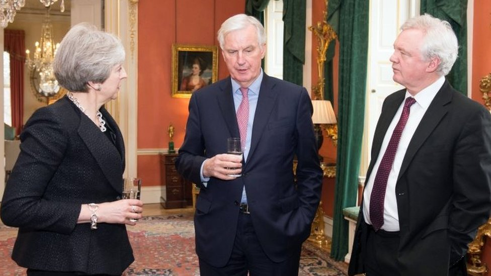 Theresa May, Michel Barnier and David Davis