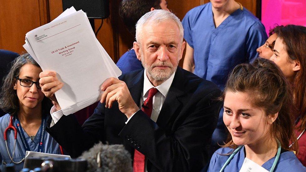 Jeremy Corbyn holding up papers