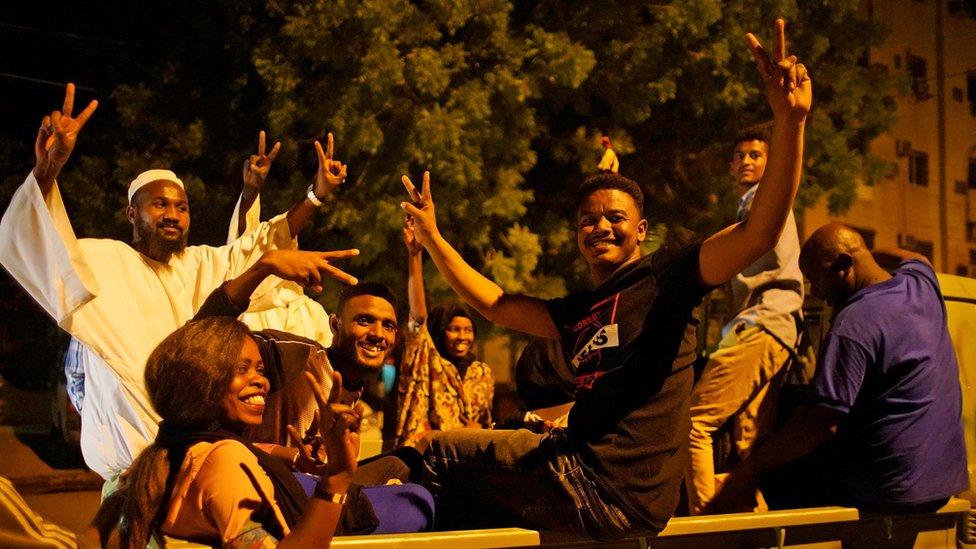 Demonstrators in Khartoum, 13 April