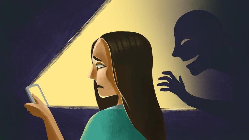 Ilustración sobre una víctima de pornovenganza.