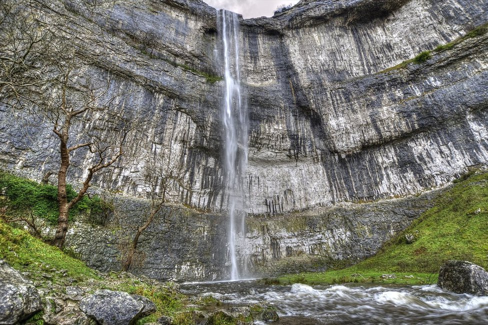Photographer Simon Wells took this image on Sunday from the foot of Malham Cove