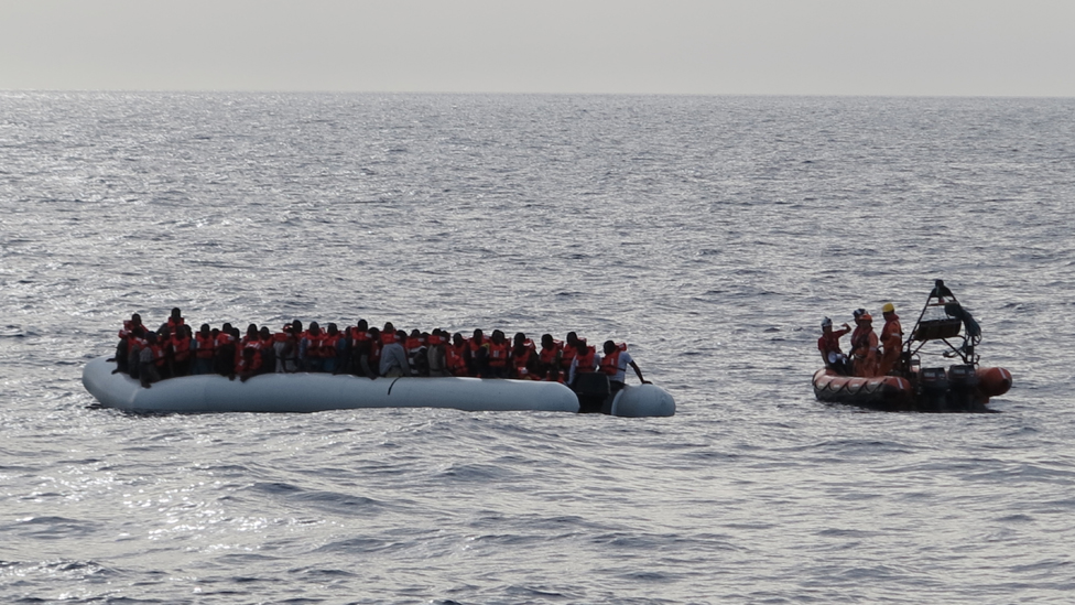 Migrant boat filled with people