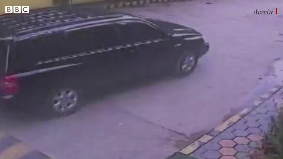 CCTV footage of the dark SUV leaving the area of Wancalearm`s residence