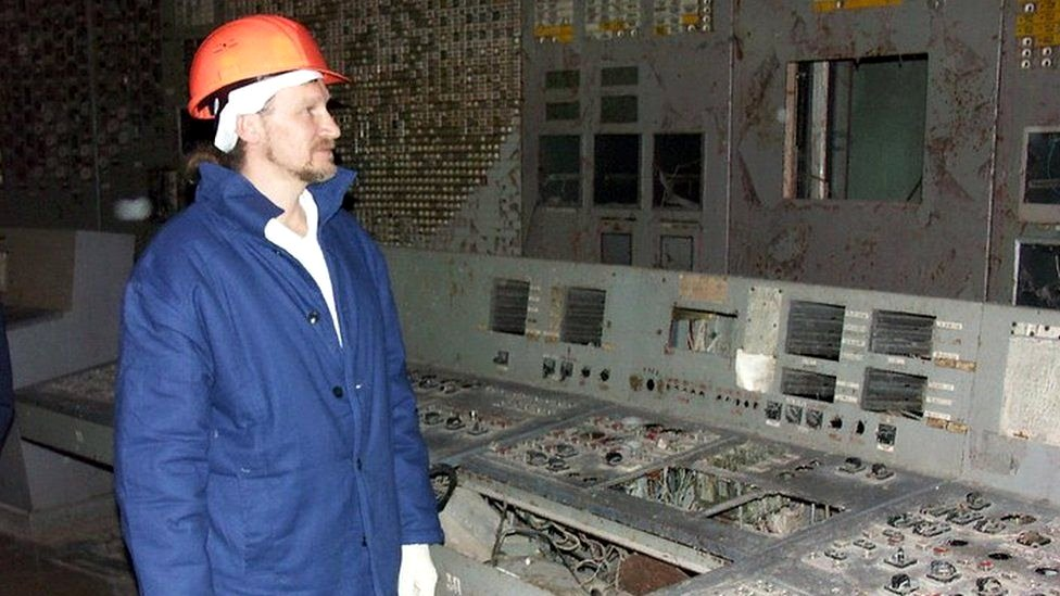 Oleksiy Breus in his control room 20 years after the disaster